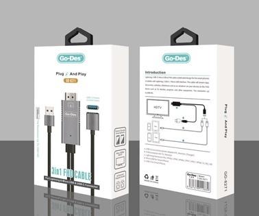 Lopard Go Des GD-8271 3in1 FHD Kablo Micro - iPhone-Type C HDMI Dönüştürücü Renkli